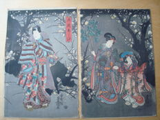 "Original woodblock print diptych by Utagawa Kunisada (1786-1865) - ""Playing games in the garden"" (Prince Genji) - Japan - 1847-1850"