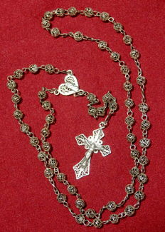 Antique Sterling Silver Filigree Rosary - Portugal - 1930's