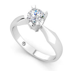 White gold ring with a 0.50 ct brilliant cut F (fine white) / VVS2 diamond - With HRD certificate