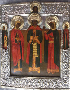 Russian Icon Rare subject Saints Paraskeva, Catherine and Barbara - 18th Century