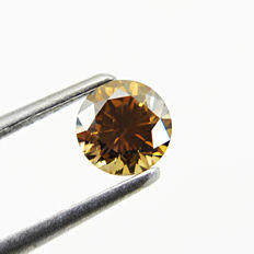 Diamond - 0.73 ct Round Brilliant  Fancy Deep Brown, SI2 - **No Reserve**