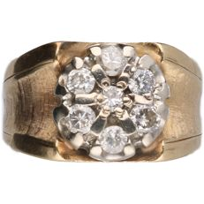 14 kt Bi-colour ring with brilliant cut diamond of 0.55 ct in total
