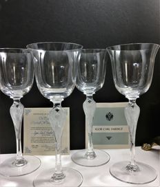 Faberge, 4 crystal wine goblets made to honor the 100th anniverary of the birth of Prima Ballerina Anna Pavlova, signed and with certificate of authencity