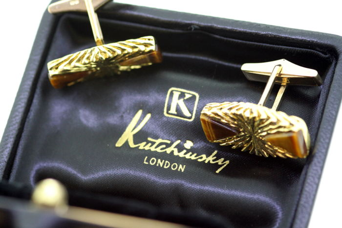 Kutchinsky - Vintage 18K Yellow Gold and Tigers Eye Cufflinks, London 1972 - Size : 2.8 x 2.4 x 1.4 cm