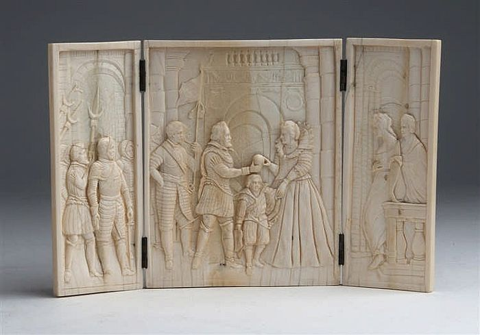 Carved ivory triptych representing Henry IV of France and his wife Marie de' Medici - Dieppe, France - 19th century