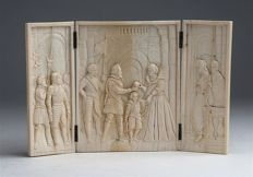Carved ivory triptych representing Henry IV of France and his wife Marie de' Medici - Dieppe - France, 19th century