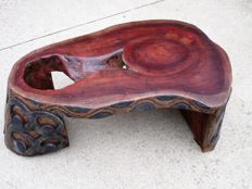 Hand carved one of a kind mahogany stump coffee table