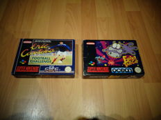 """Snes """"Eric Cantona Football Challenge"""" FAH & """"Eek! The Cat"""" both Fully Complete, Box, Manual and inlay"""