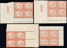 San Marino 1927/1928 - Postage Due, complete series - Blocks of four, corner of sheet with plate number N°  28/31