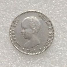 Spain – Alfonso XIII – 50 Cent. – 1892(92) PG-M – Silver