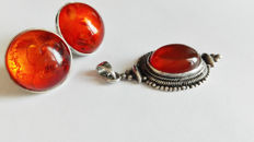 Vintage pendant and earrings with amber - 925 silver