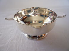 Silver plated sauce bowl with handles Art Deco, France, ca 1930