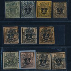 Hanover - 1850-1855 - collection of 11 stamps 'nominal value on coat of arms' with Hanover Michel 7 multiple times