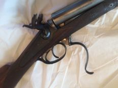 pin fire shotgun, Belgian manufacturing, juxtaposed damask barrel, calibre 16/73.4