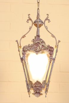 Beautiful bronze alloy hall lamp, France, 20th century, after a classic model with rocailles decoration