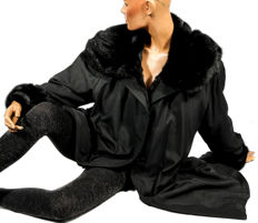 Beautiful black silk jacket with fur lining made from dyed squirrel fur and mink collar