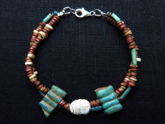Egyptian double bracelet of faience beads and a decorated scarab steatite - 19 cm