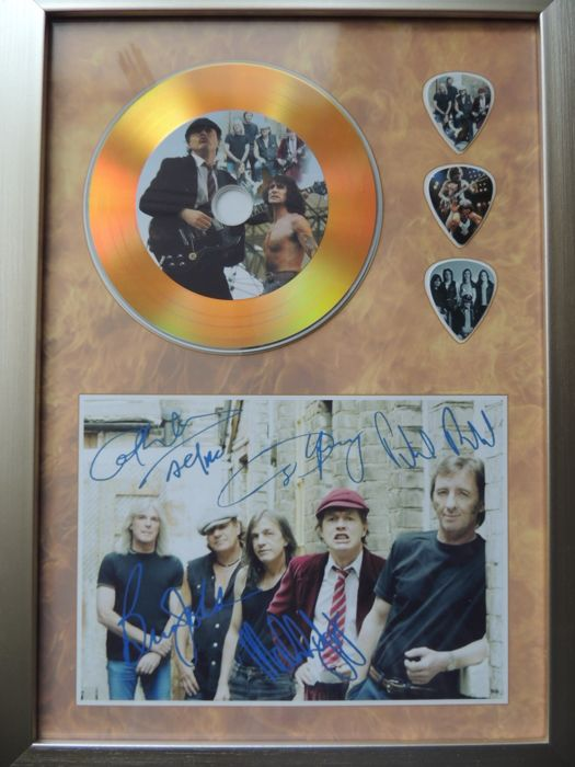 Stunning AC/DC - Angus Young - Signed (in print) Picture Framed Plated Gold Disc Framed - Very Decorative