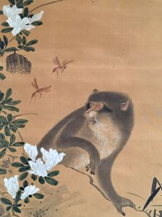 'Monkey startled by wasps' signed Kinkei 錦渓 hand-painted hanging scroll - Japan - ca. 1850