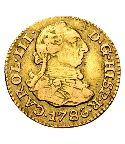 Spain - Carlos III (1759–1788) - Gold half escudo coin. Madrid, 1786 - DV.