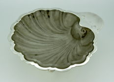 Antique Silver Plate and Crystal Glass Oyster Dish, C.1930's