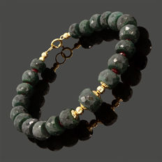 18k/750 yellow gold bracelet with green sapphires and rubies – Length 20 cm