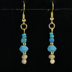Earrings with Roman turquoise glass beads, including jewellery box