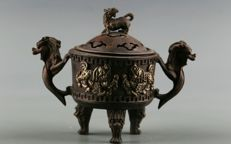 Chinese, copper incense burner - China - mid 20th century