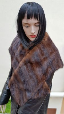 Extra-large wrap/scarf - Mink Fur - MADE IN ITALY