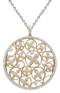 Magnificent 18 kt rose gold necklace  155 diamonds, total weight: 2.01 ct
