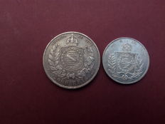 Brazil - 1000 and 2000 Reis 1863 and 1888 - Petrus II era - Lot of 2 coins - silver