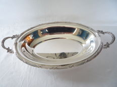 Silver plated serving tray with crossed bands and handles, France, ca. 1930