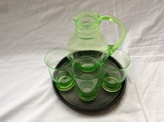 Copier Leerdam - Uranium green water set with serving platter