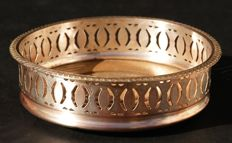 Antique Silver Plated Wine Coaster With Wooden Base, European, c. 1870's