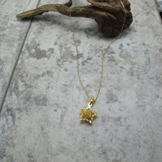 18K gold necklace of wishing star. Pendant size: 18-12mm. Necklace Length: 42-45 cm.
