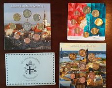 Estonia, Latvia, the Netherlands - 3 euro sets 2011-2014 and Vatican Probe set