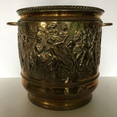 Very large antique brass flower pot with detailed relief of the Trojan war
