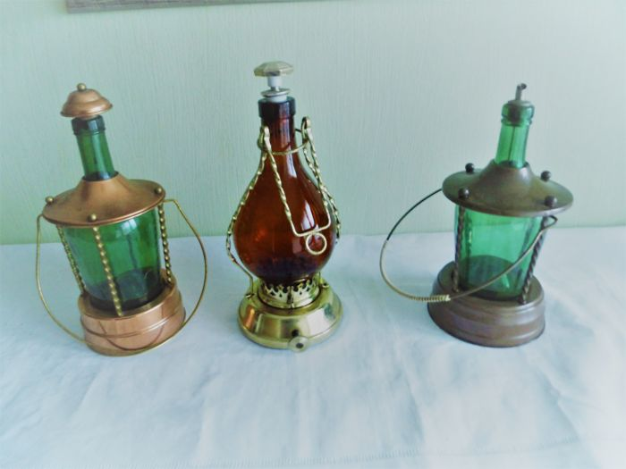 Three lantern-liqueur bottles with music box
