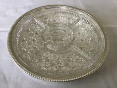 Silver plated round serving tray with glass decorated insert and compartments, ca. 1965
