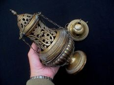 Beautiful antique decorated Catholic Church Thurible - 19th century