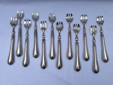 Silver oyster forks - 12 items, France, circa 1880 950/1000