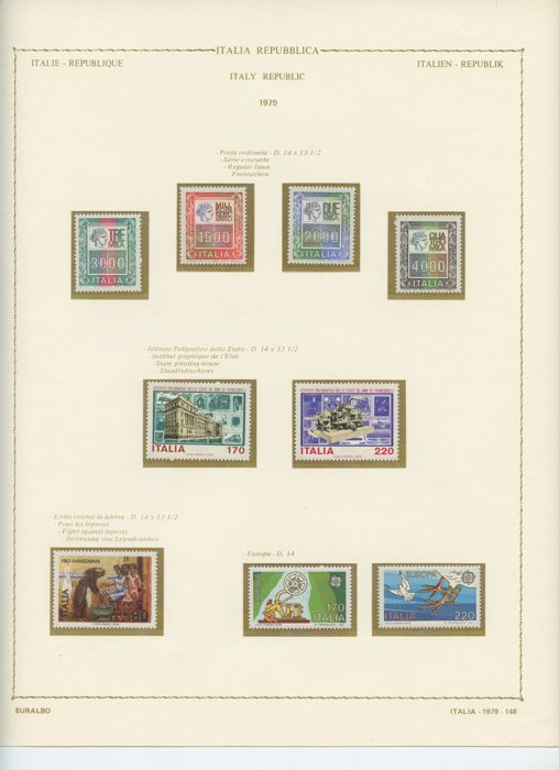 Italy, Republic 1954/1985 - Two collections in Euralbo album and Leuchtturm sheets including high denominations of the period