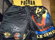 Legend Manny Pacquiao hand signed Boxing shorts with Coa plus photo proof
