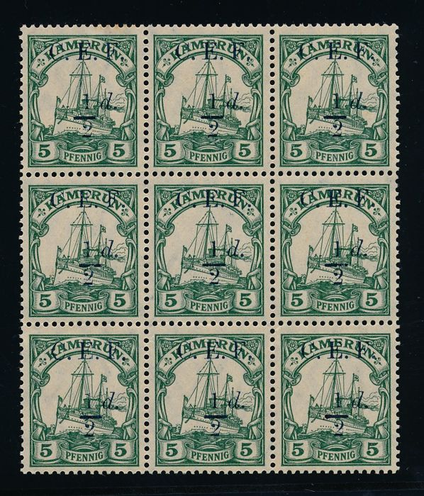 Cameroon British Occupation - 1915 - Stamps from Cameroon with  overprint '1/2 d' and '1 d', Michel 2 and 3
