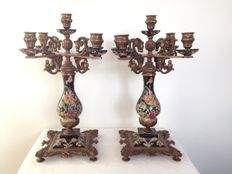 G & C - classic noble hand painted earthenware candelabra