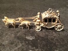 Silver miniature 'golden coach' with 4 horses, Netherlands, late 20th century
