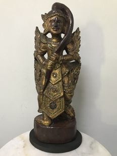 Large wooden gilt glass inlaid Standing angel (48 cm) - Burma (Mandalay) - late 19th century