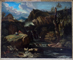 Continental School - Landscape with shepherds and flock at the waterfall