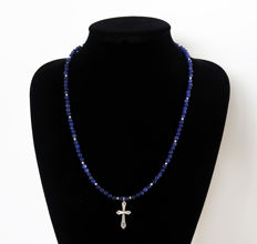 Necklace made of Sapphire and silver gems, adorned with a solid silver cross