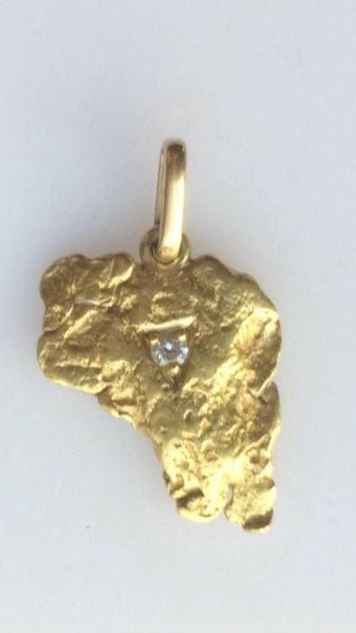 22 kt gold nugget pendant set with a diamond catawiki 22 kt gold nugget pendant set with a diamond aloadofball Images